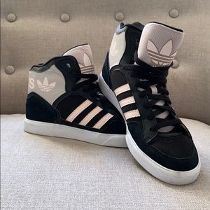 Adidas high tops. Blush and black. Gently used.